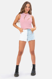 Aubrey Color Block Denim Shorts