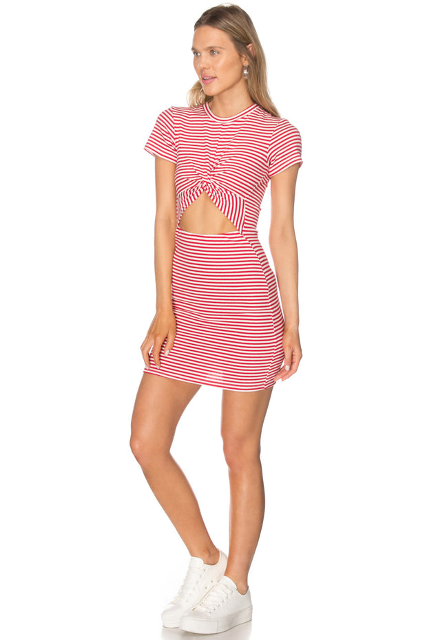 Front Twist Striped Cutout Dress