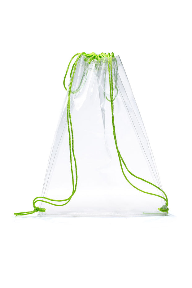 Transparent Neon Strapes Drawstring Backpack