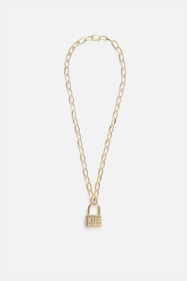 BABE Lock Pendant Necklace