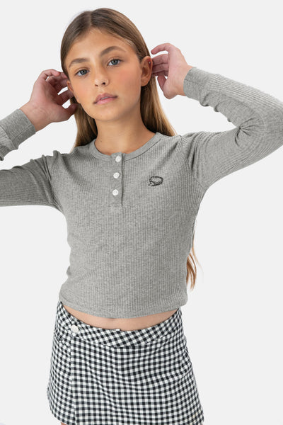 Ribbed Button-Up Top