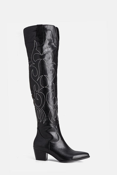 Parton Embroidered Faux Leather Boots
