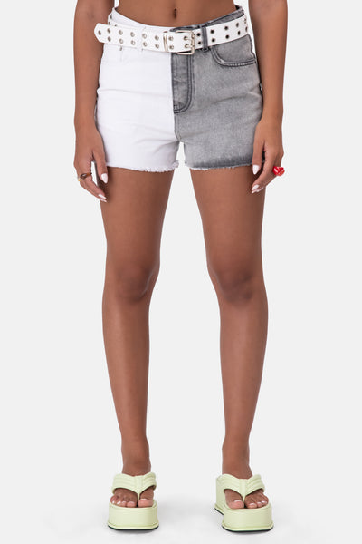 Mono Color-block Denim Shorts