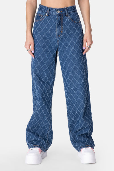 Cliff Textured Pattern Jeans | WIDE
