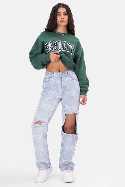 FABULOUS Embroidery Cropped Sweatshirt