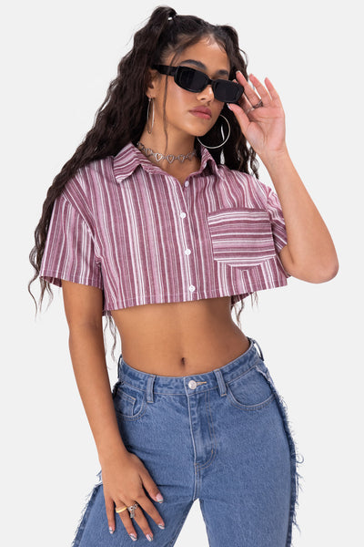 Elodie Cropped Button-Down Shirt