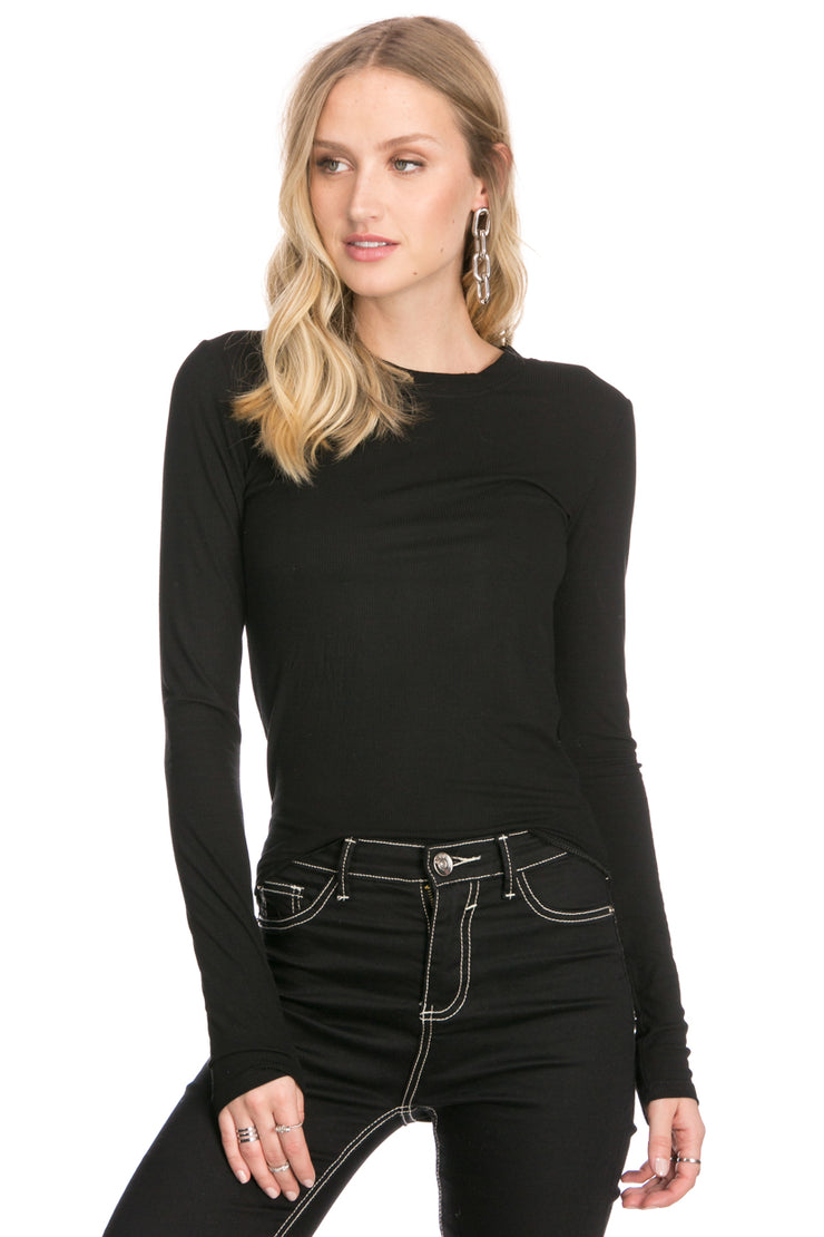 Ann Ribbed Long Sleeve Top