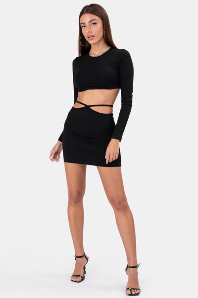 Waist Strings Mini Skirt