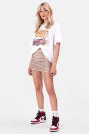 Citrine Ruched Mini Skirt