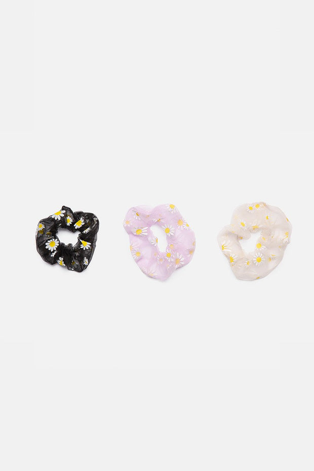3 Pack Floral Print Scrunchies