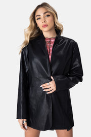 Rider Oversized Faux Leather Blazer