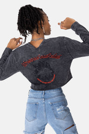 STRESSED OUT Embroidery Cropped Tee