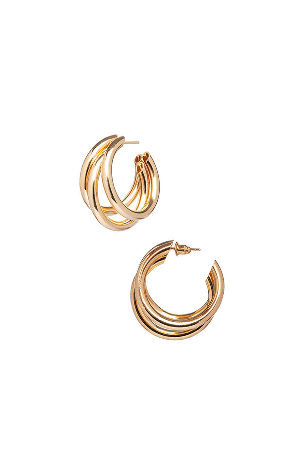 Triple Date Hoop Earrings