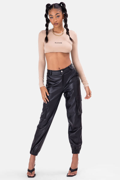 Zeppelin Faux Leather Cargo Pants