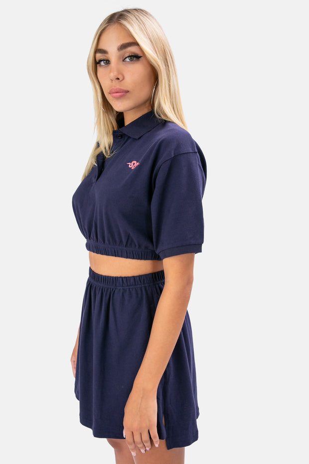 Snake Embroidery Cropped Polo Shirt
