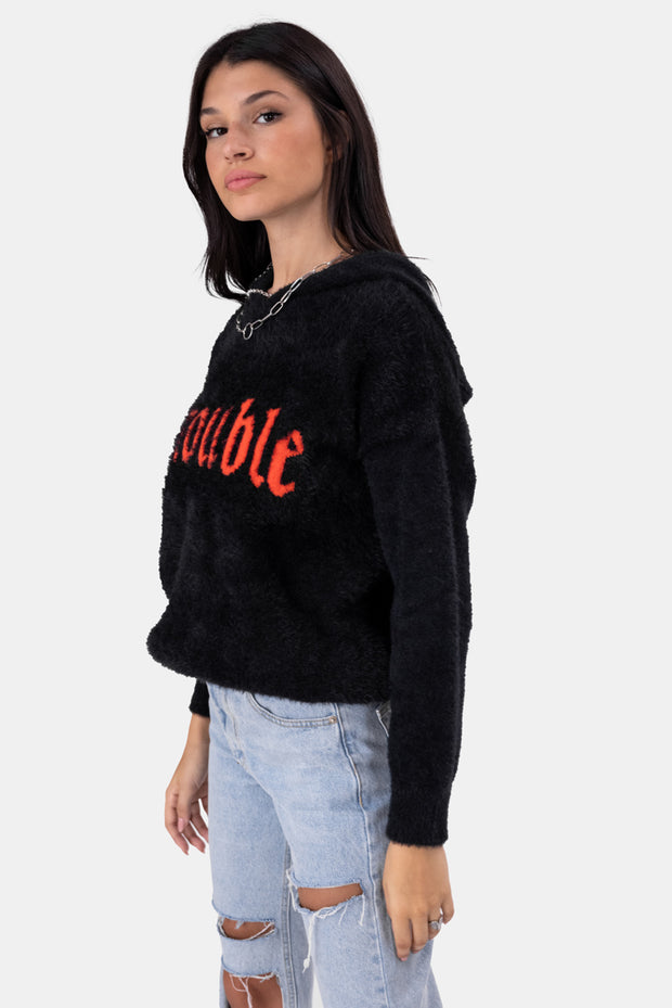 TROUBLE Faux Fur Hooded Sweater