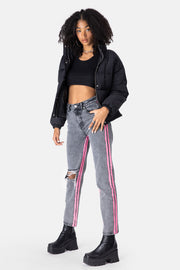 Motley Neon Stripe Cropped Jeans