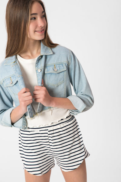 Striped Ribbed Shorts with Slits