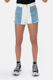 Color Block Jean Shorts