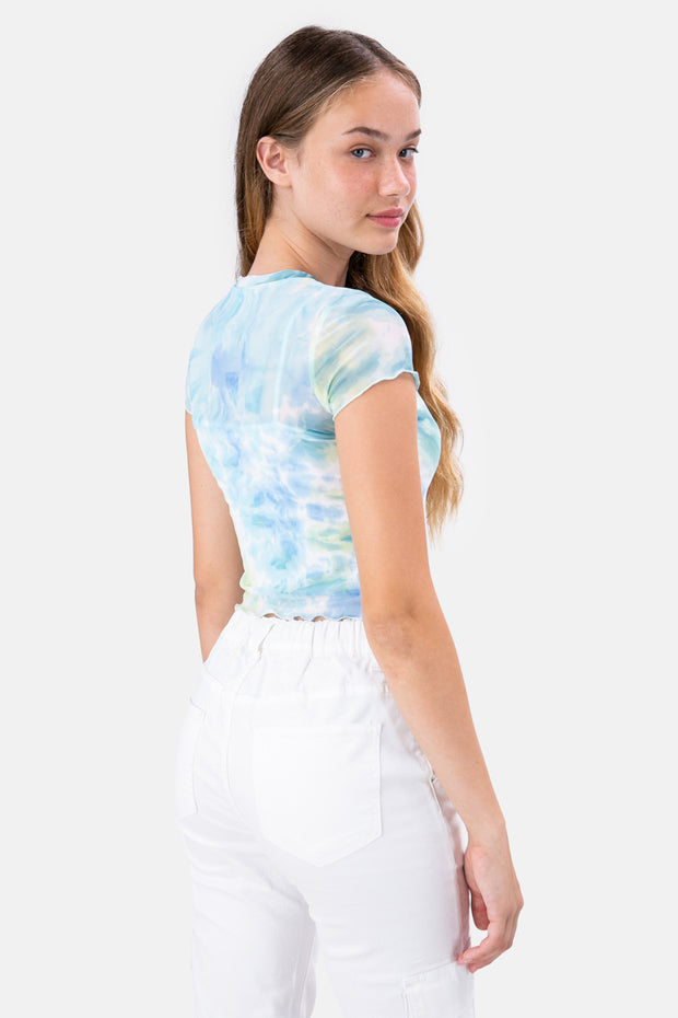 YIN-YANG Sheer Tie-Dye Top