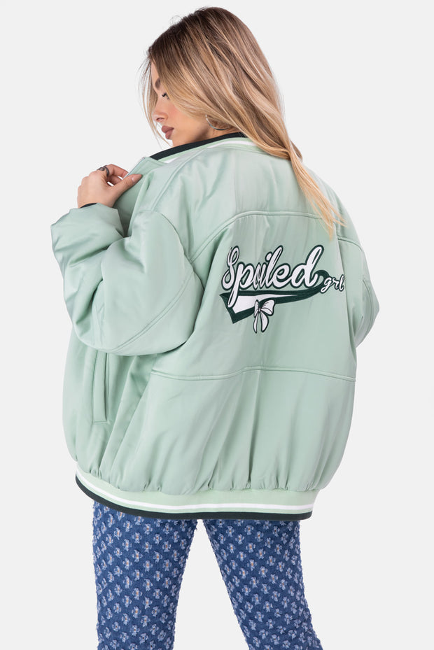SPOILED Satin Finish Varsity Jacket