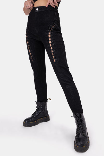 Minxy Lace-Up Detail Jeans | SKINNY