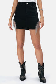 Nola Fringe Denim Skirt