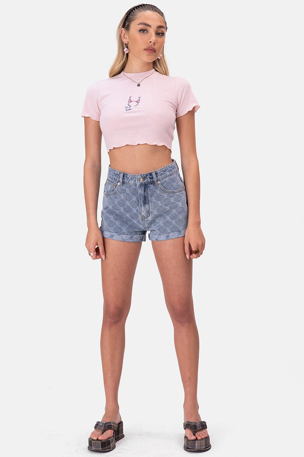 Diaz Distressed Pattern Denim Shorts