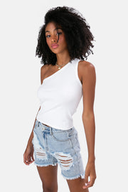 Martin One-Shoulder Ribbed Top