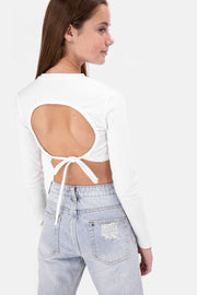 Leyla Ribbed Open Back Crop Top