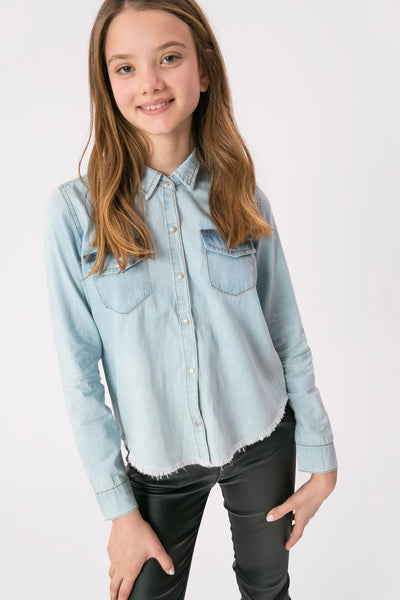 Lindsay Frayed Denim Shirt