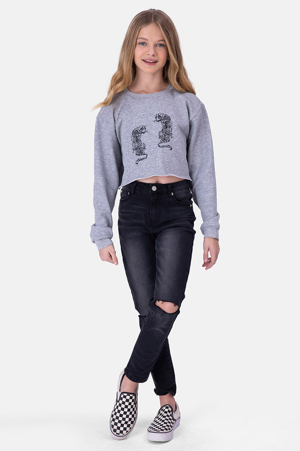 Tiger Fuzzy Lining Cropped Sweatshirt