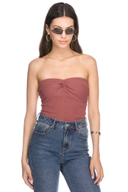 Twist Detail Ribbed Strapless Top