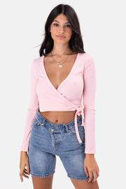Orchid Ribbed Wrap Top