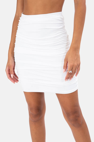 Stone Ruched Mini Skirt