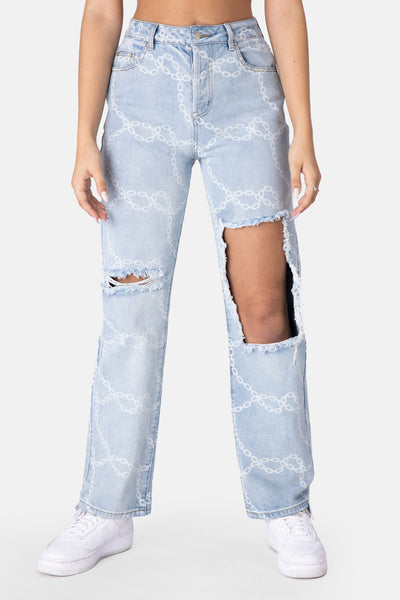 Link Printed Jeans | RIPPED