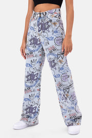 Tag Graffiti Print Jeans | WIDE
