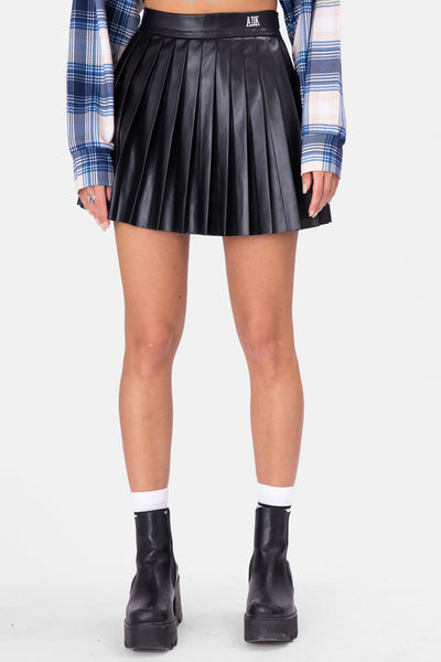 ADK Faux Leather Pleated Mini Skirt