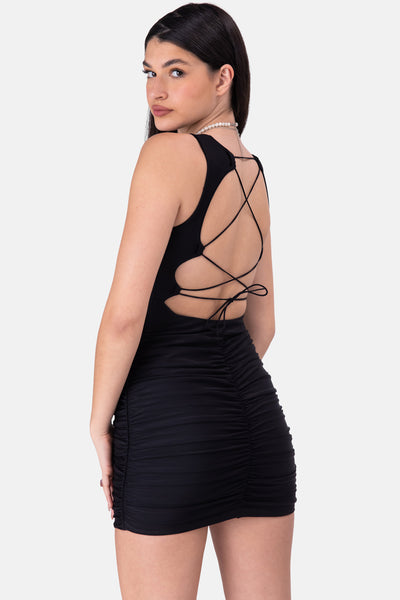GLOW UP Tie-Back Ruched Mini Dress