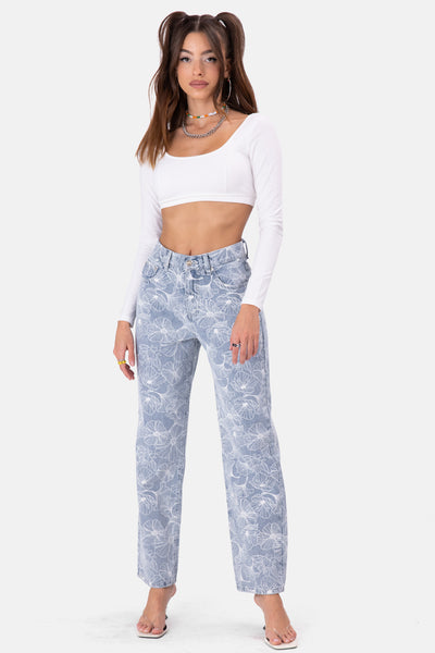 In-Bloom Graphic Jeans | WIDE