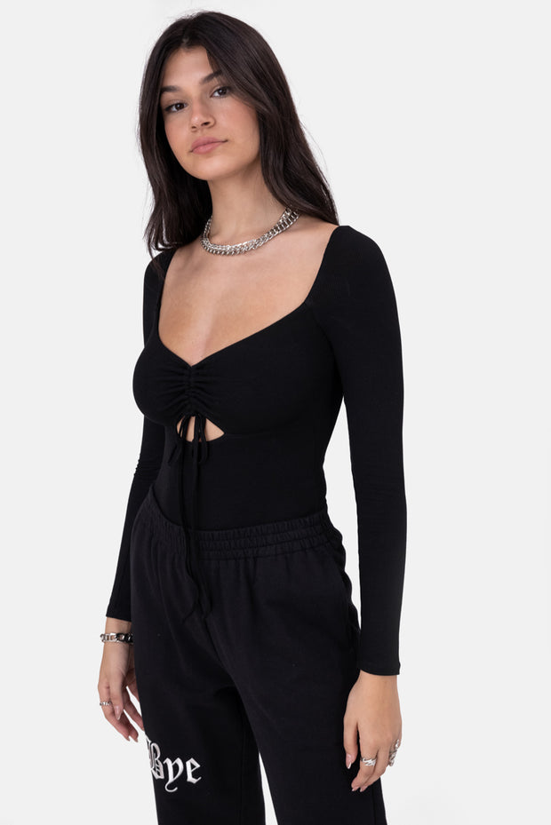 Adams Ruched Ribbed Bodysuit