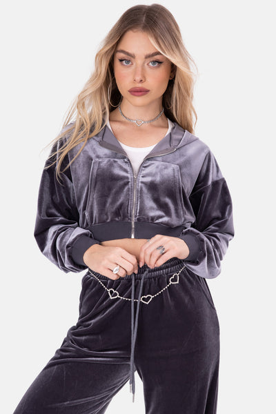 Gambino Zip-Up Velvet Top