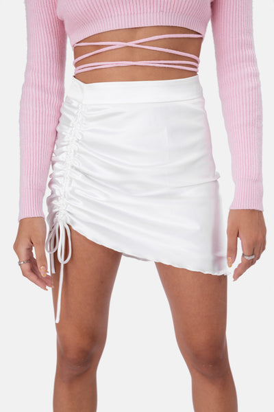 Hatton Satin Ruched Mini Skirt