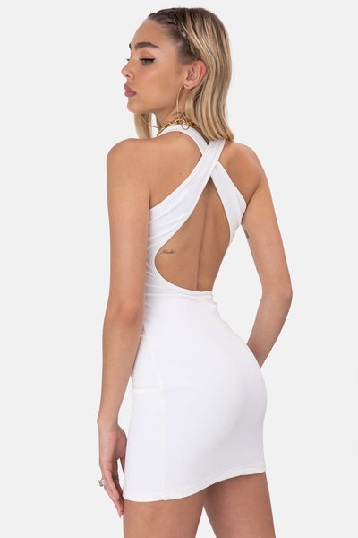 Mystic Ribbed Cross-Back Mini Dress