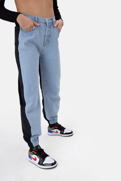 Hybrid Denim and Nylon Pants