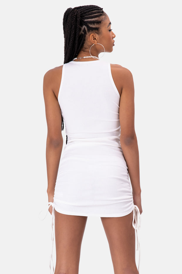 Bee Ruched Ribbed Mini Dress
