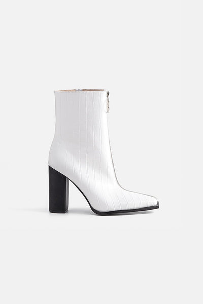 Bianco Faux Leather Booties