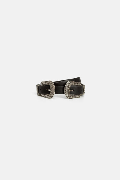 Roi Double-Buckle Faux Leather Belt