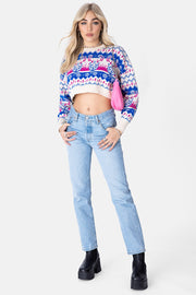 Festive Cropped Knit Sweater