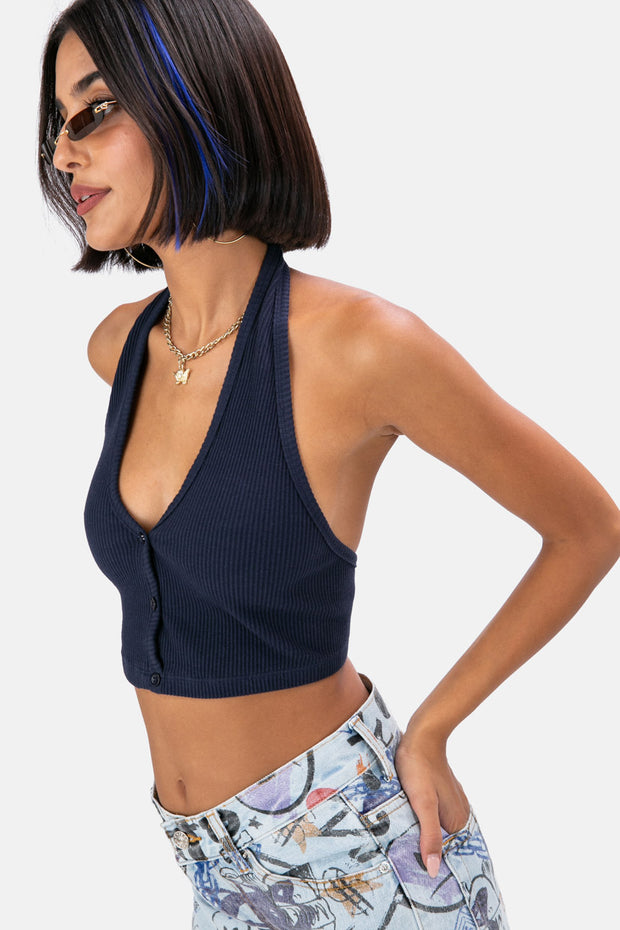 Entitled Ribbed Halter Crop Top